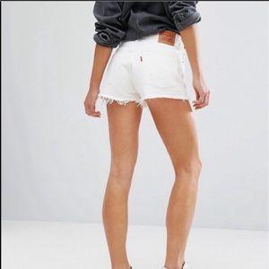 Levi's 501 White Distressed Denim Shorts 29 NWT